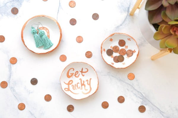 DIY Clay Lucky Penny Coin/Ring Dish – Makeful #DIY #clay #dish #trinket
