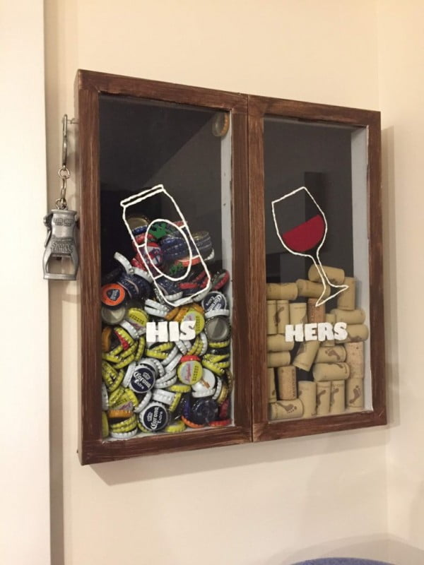 DIY Wine Cork and Beer Cap Display » Through Rebeccas Eyes #DIY #craft #winecork