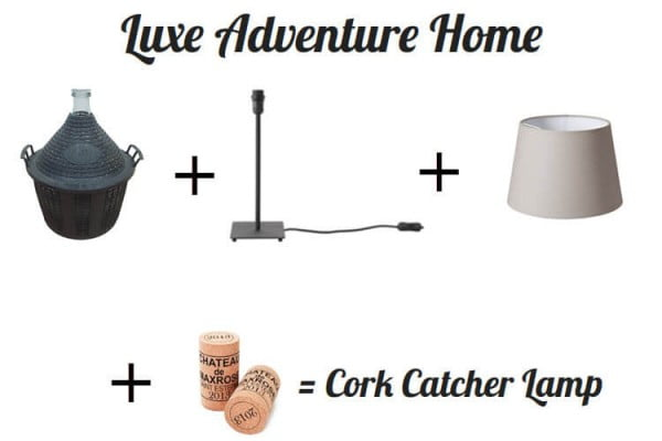 Luxe Adventure Home: DIY Wine Cork Catcher Lamp #DIY #craft #winecork