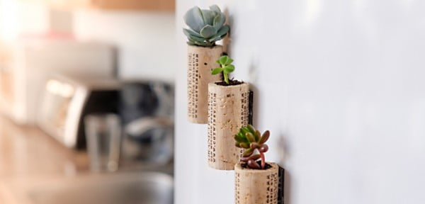 DIY Wine Cork Magnet Planters #DIY #craft #winecork