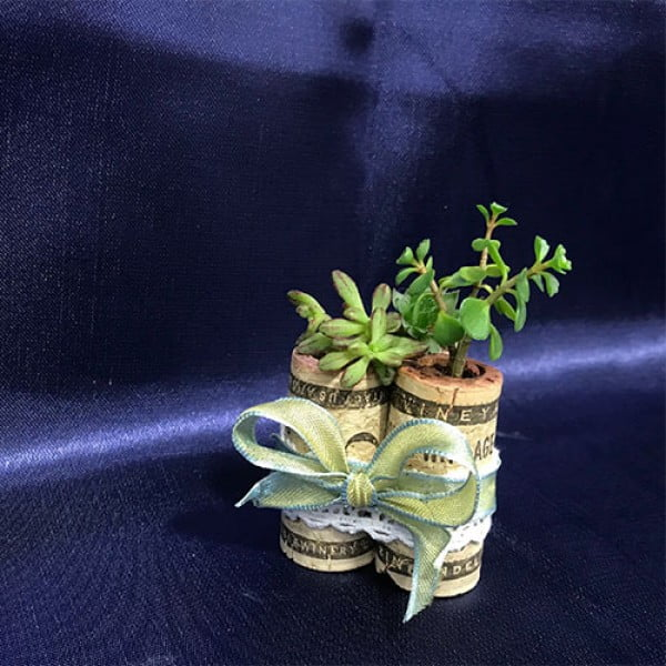 DIY Wine Cork Succulent Planters #DIY #craft #winecork