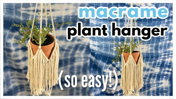Simple DIY Macrame Plant Hanger with Fringe // Tutorial + Video!