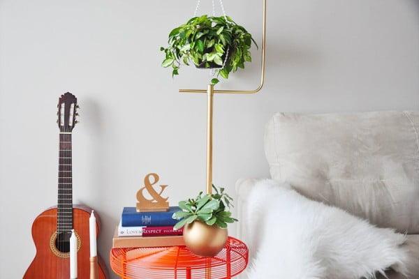 DIY Macramé Plant Hanger + Gold Plant Stand