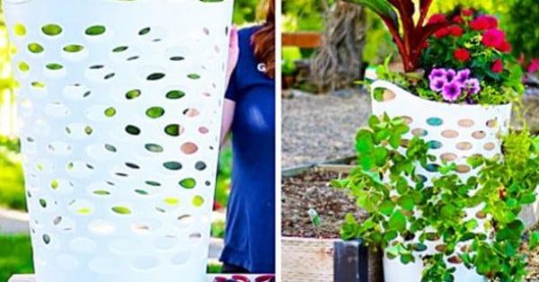 DIY Strawberry Planter Using A Laundry Basket